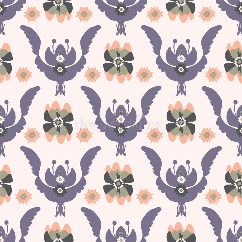 Boho Purpurowy Kwiecisty wzór ilustracja wektor