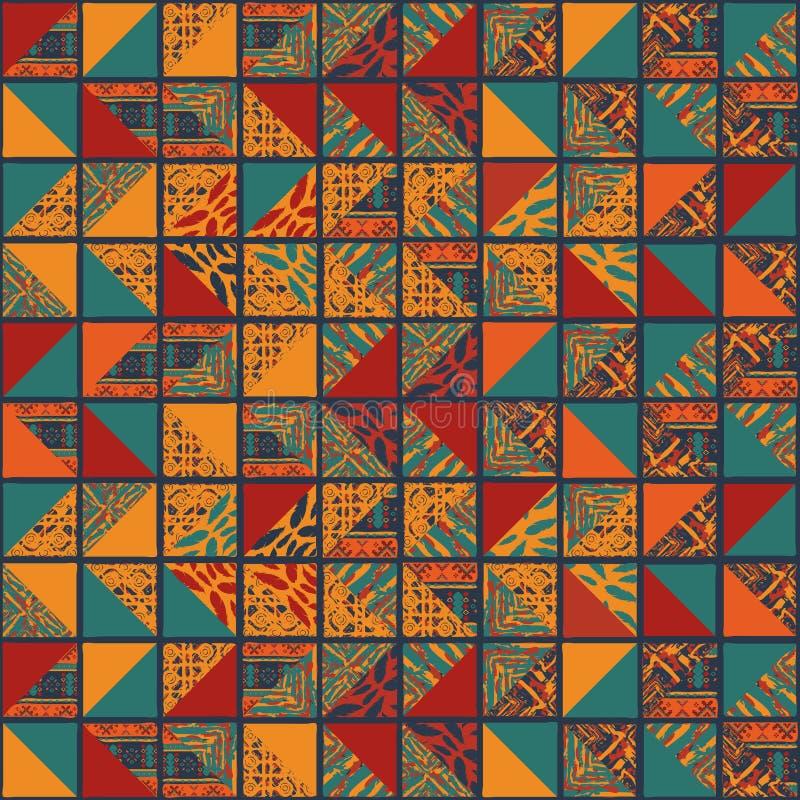 Boho sömlösa fyrkanter mycket stock illustrationer