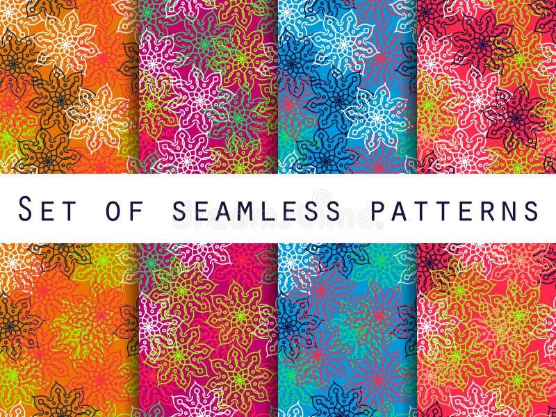 Boho seamless pattern. Ethnic and tribal pattern. Set. For wallpaper, bed linen, tiles, fabrics, backgrounds. Vector illustration stock illustration