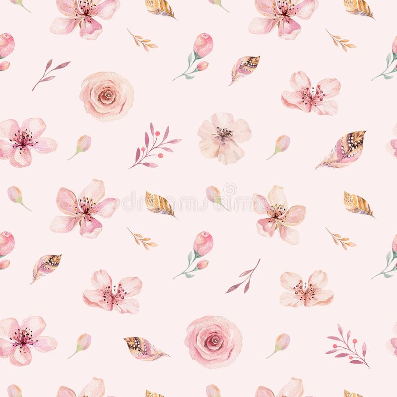 Boho seamless watercolor pattern of feathers and wild flowers, leaves, branches flowers, illustration, love and feathers. Bohemian decoration spring blossom royalty free illustration