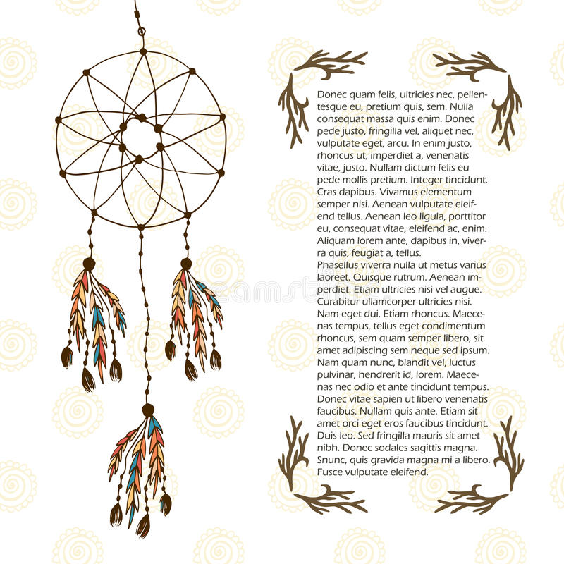 Boho sen łapacz Wektorowa ilustracja w etnicznym stylu Projekta szablon z ręka rysującą dekoracją ilustracji