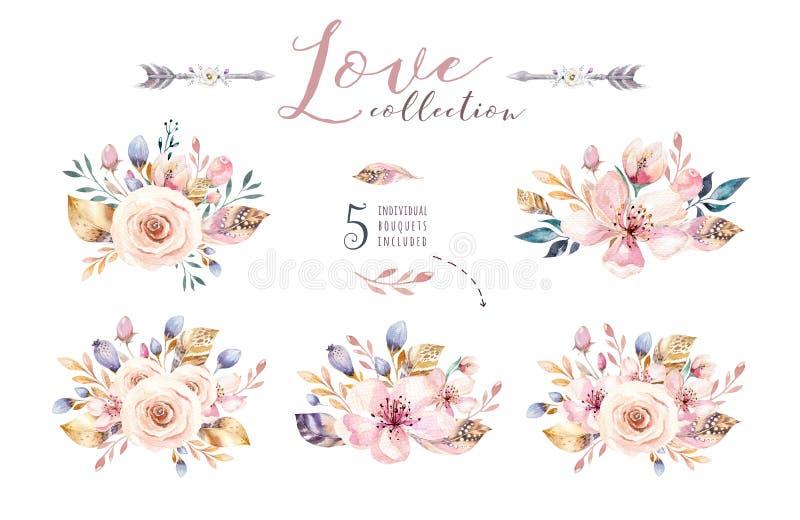 Boho ställde in tappningvattenfärgbeståndsdelar av blommor, trädgårds-, och lösa blommor, sidor, filialer blommar, den isolerade  vektor illustrationer
