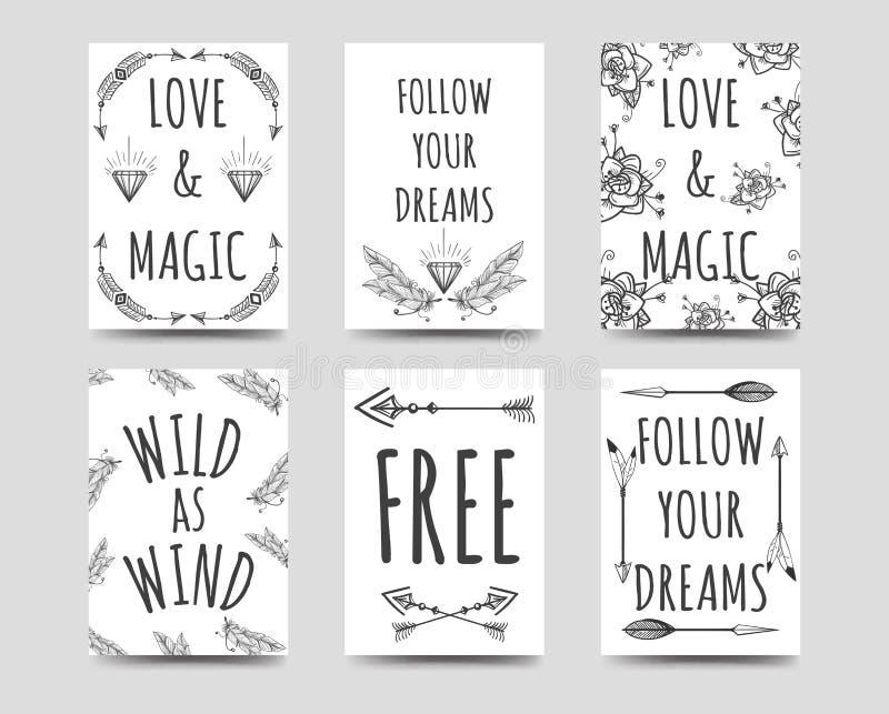 Boho stil cards samlingen stock illustrationer