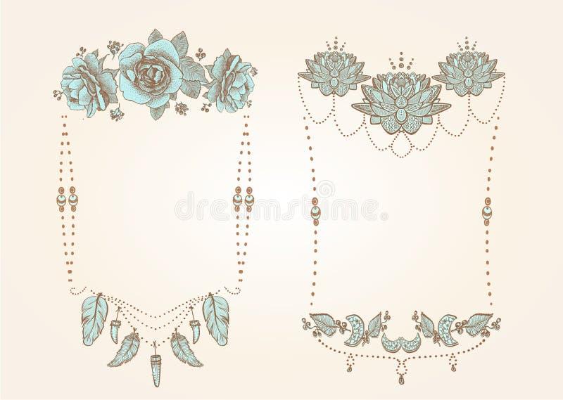 Boho stil, hippie, indie stilramar ställde in med blommor, fjädrar och pärlor stock illustrationer