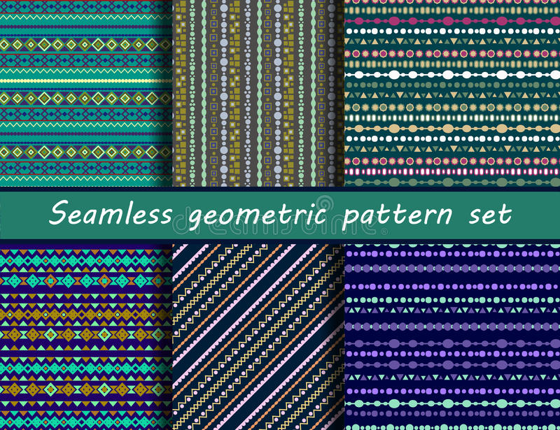 Boho stripes. Vector. Set of six blue colored ethnic patterns. Background in the boho style, geometric vector seamless patterns.Seamless vector tribal texture stock illustration