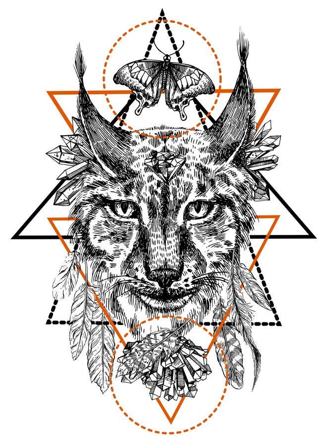 Boho style animal royalty free illustration
