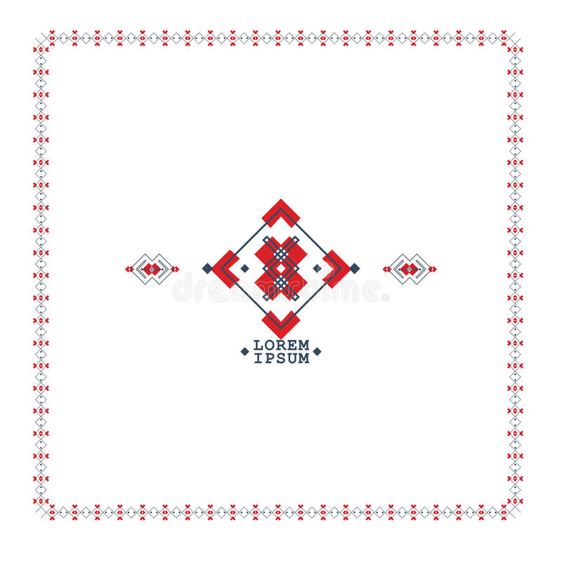 Boho Style Symbols In Geometric Shapes Ethnic Tribal Pattern Vector