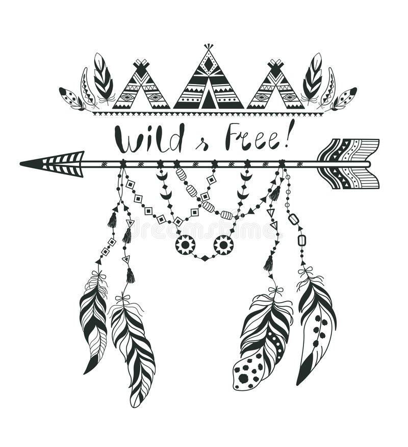 Boho Style for T-shirt and Decoration. Abstract Design with Bird Feather and Arrow . royalty free illustration