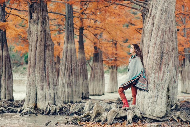 Boho style woman walking in autumn park. Beautiful boho style young woman walking in autumn park among cypresses royalty free stock photo