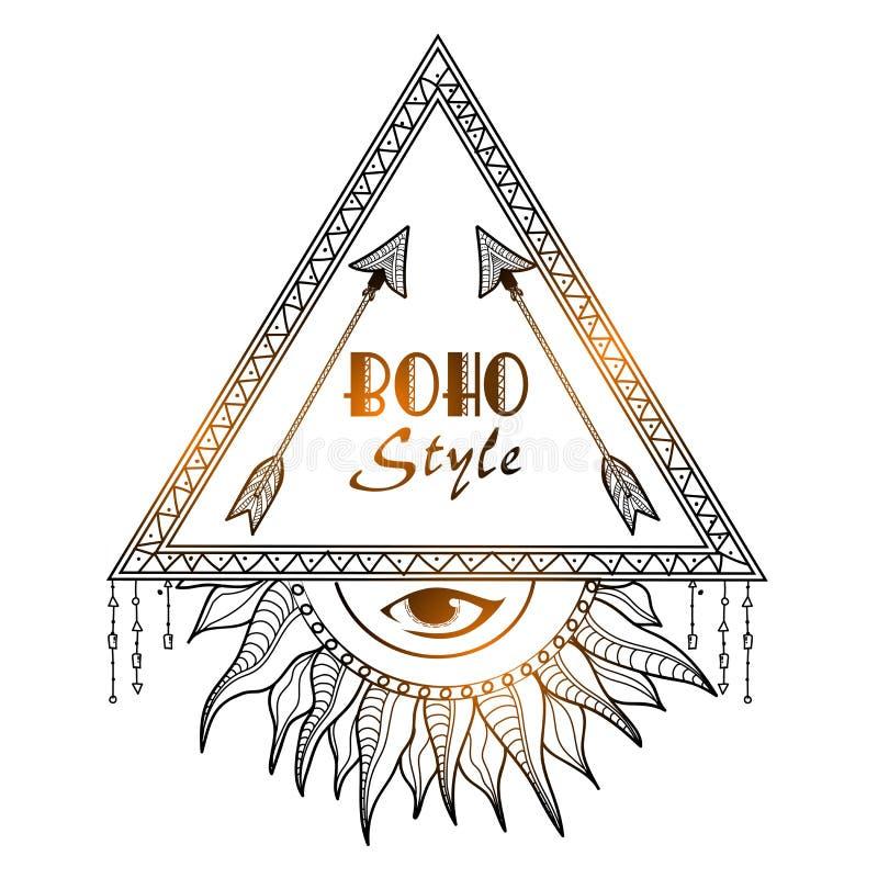 Boho stylowa plemienna rama z okiem ilustracja wektor