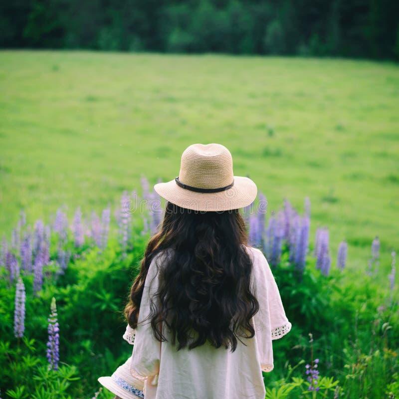 Boho stylu dziewczyna z długie włosy na naturze obrazy royalty free