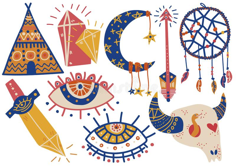 Boho stylu symbole Ustawiający, Indiański namiot, Bawolia czaszka, Wymarzony łapacz, oko, strzała, kindżału wektoru ilustracja royalty ilustracja