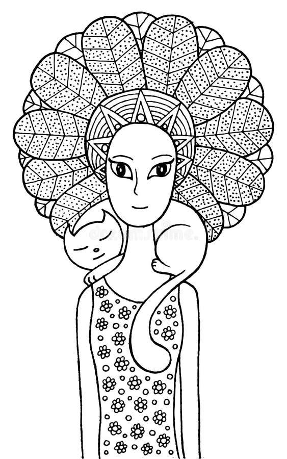Boho szamanu dziewczyna z ślicznym kotem ilustracji