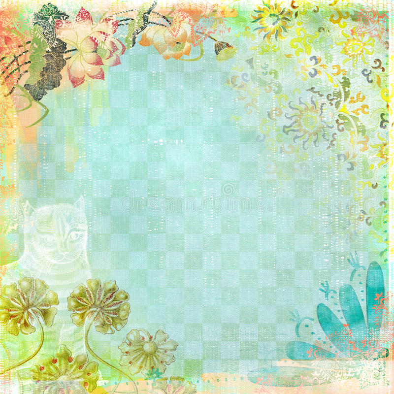 Boho Teatime Grunge Paper Background Blue Floral royalty free illustration