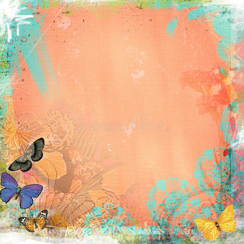 Boho Teatime Grunge Paper Background Coral Butterfly royalty free illustration