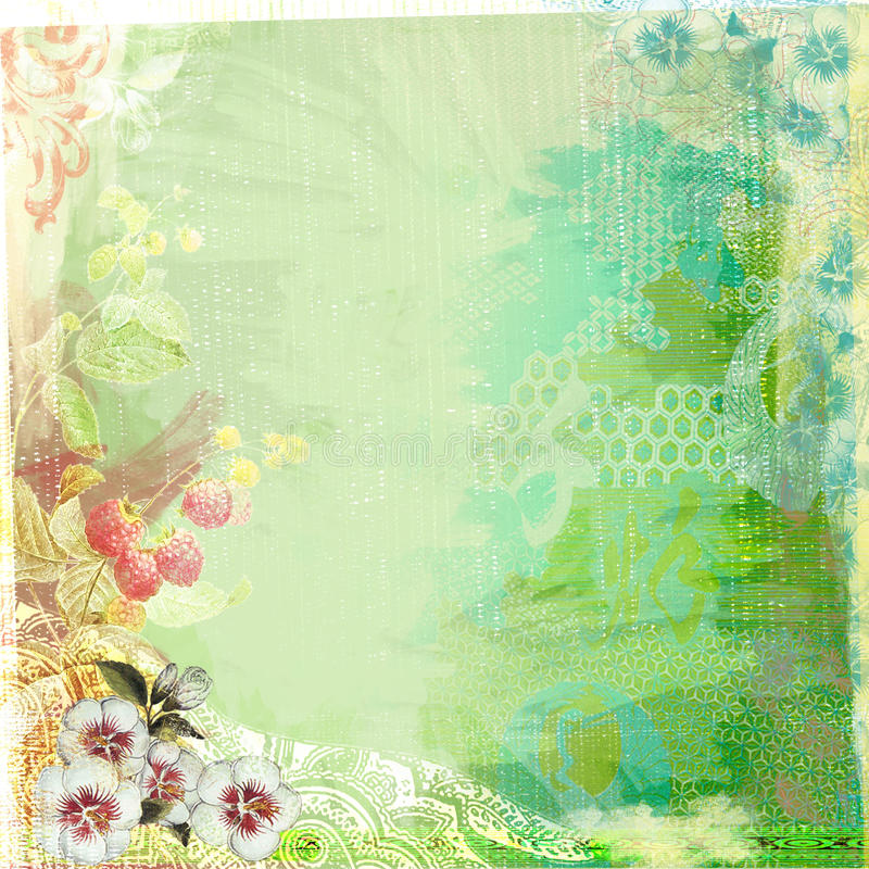 Boho Teatime Grunge Paper Background Green stock illustration