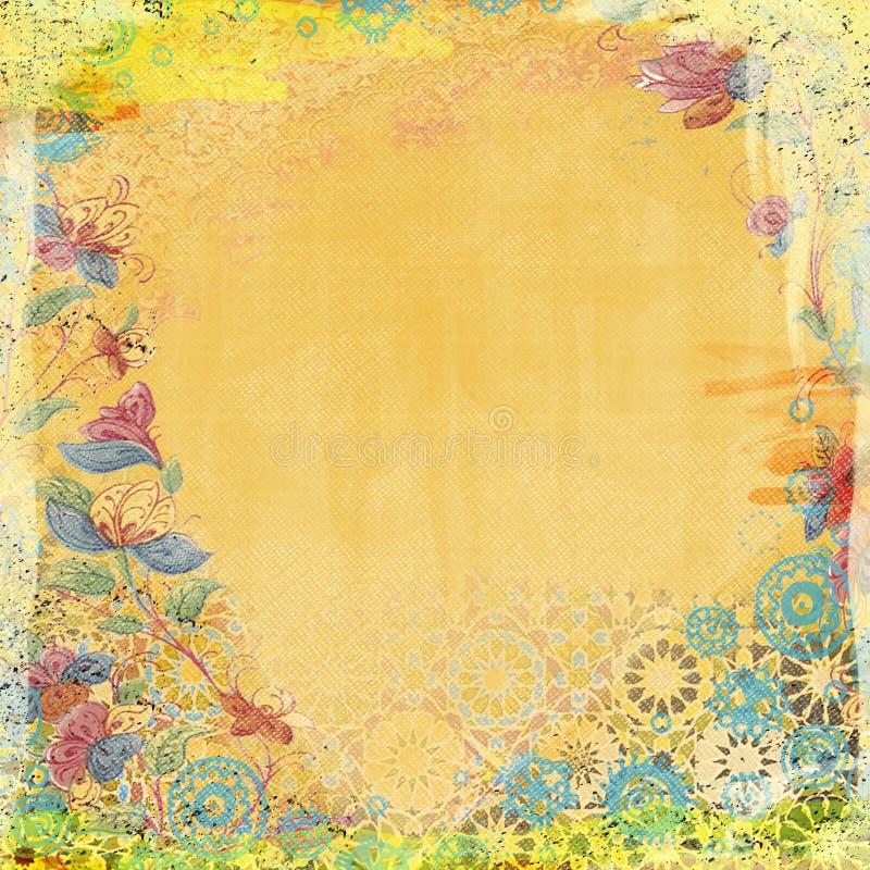 Boho Teatime Grunge Paper Background Orange stock photo