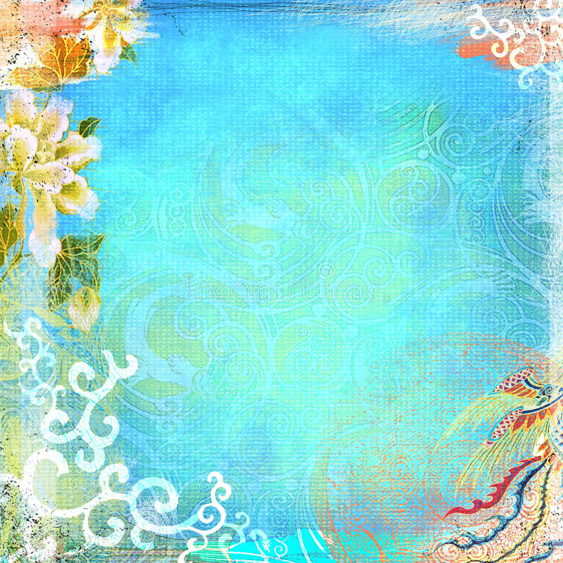 Boho Teatime Grunge Paper Background Turquoise. 12x12 300dpi beautiful eclectic paper for backgrounds stock photo