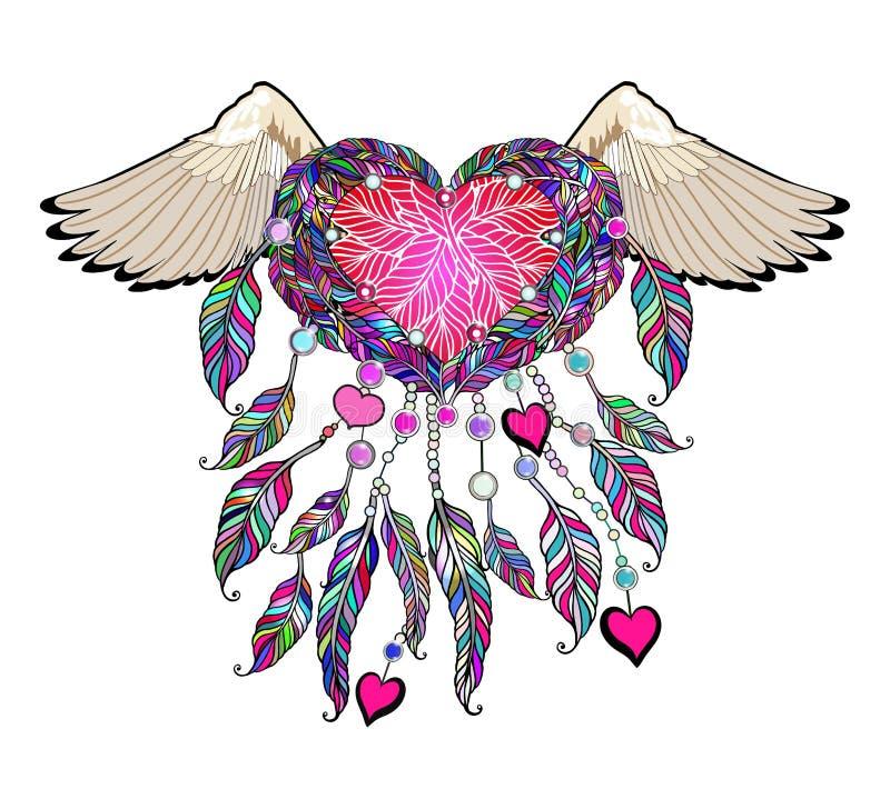 Boho wektorowy serce z skrzydłami wymarzony łapacza hindus obrazy stock