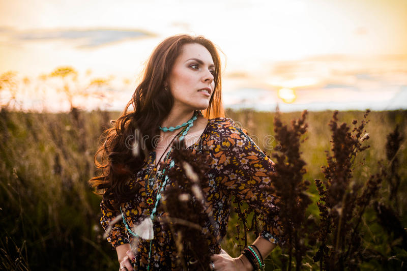 Download Boho woman in field stock image. Image of background - 62595317