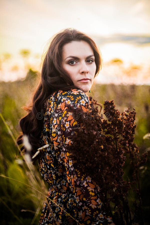 Download Boho woman in field stock photo. Image of chic, freedom - 62595320