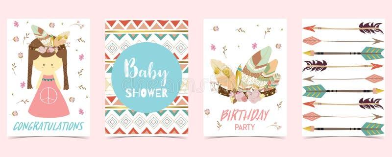 Boho zaproszenia urodzinowa karta z dziewczyną, strzałą i piórkiem, ilustracji