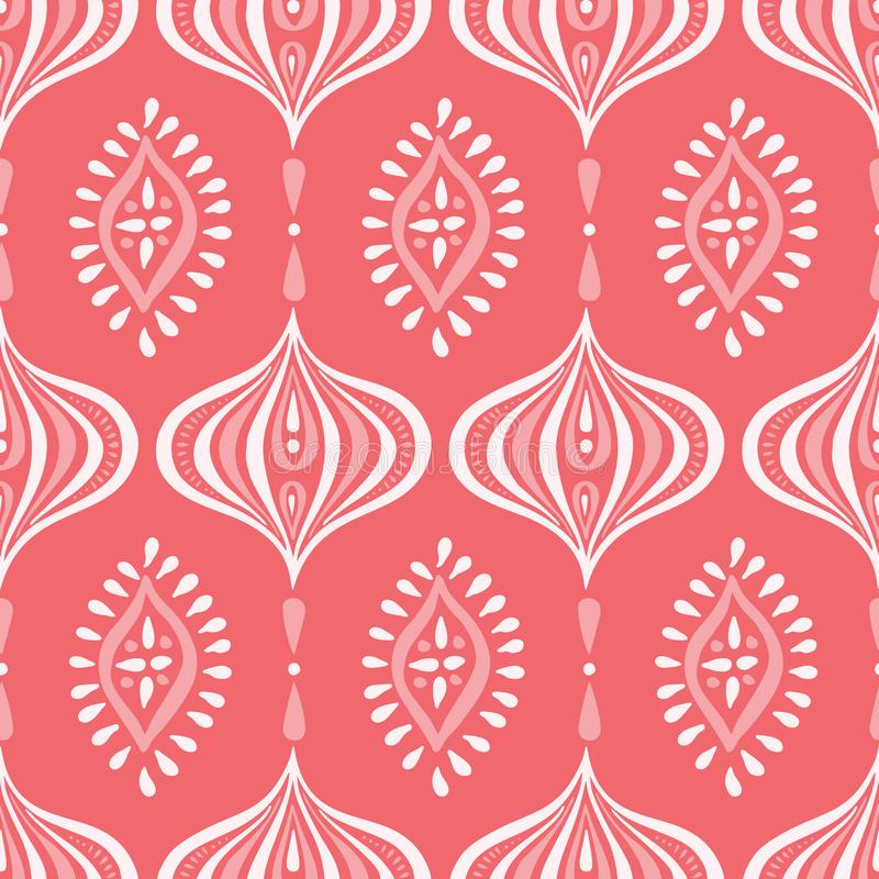 Boho Zwart-wit Handdrawn Ogee en Diamanten Vector Naadloos Patroon Retro Coral Elegant Traditional Background vector illustratie
