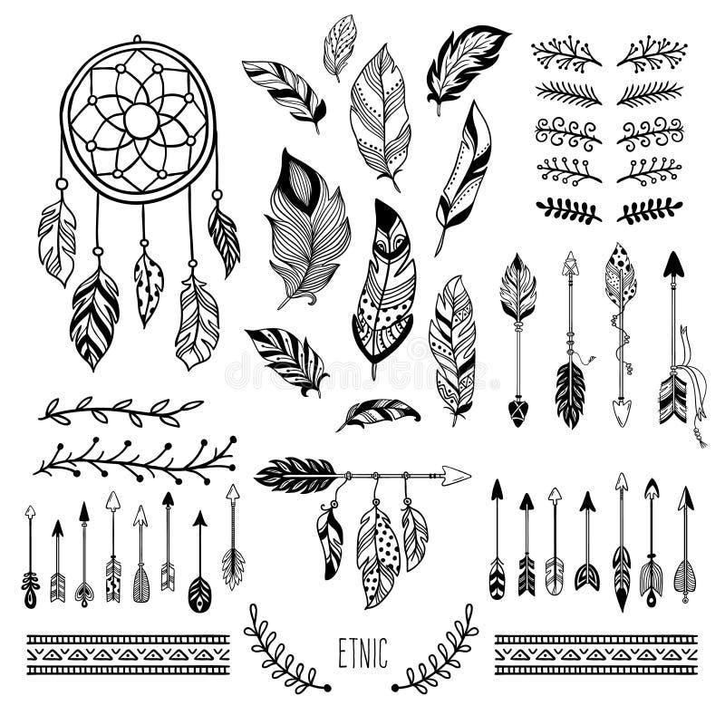 Bohoart. De stammenpijlveer, de Boheemse bloemengrens en de hippie vormen geplaatste kader vectorelementen vector illustratie
