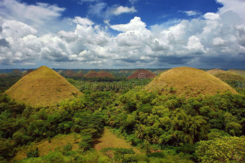 Bohol Chocolate Hills panorama royalty free stock photography