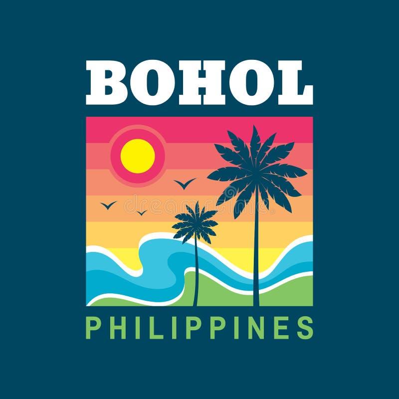 Bohol Filipinas - concepto del ejemplo del vector en el estilo gráfico del vintage retro para la camiseta y la otra producción de stock de ilustración