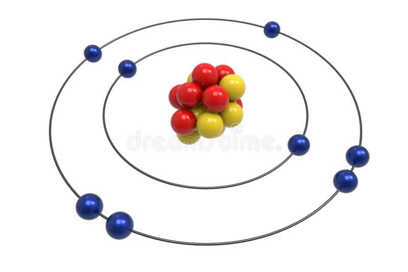 Bohr modell av syreatomen med proton, neutronen och elektronen royaltyfri illustrationer