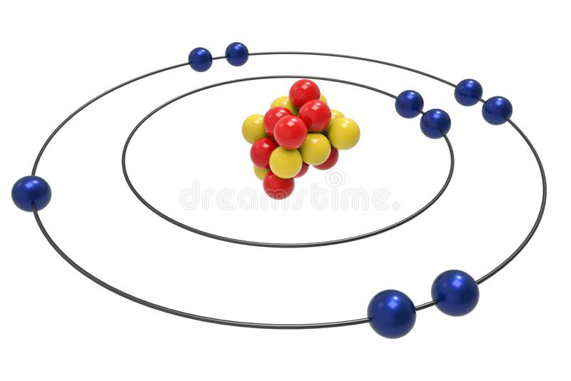 Bohr-Modell des Fluor-Atoms mit Proton, Neutron und Elektron lizenzfreie abbildung