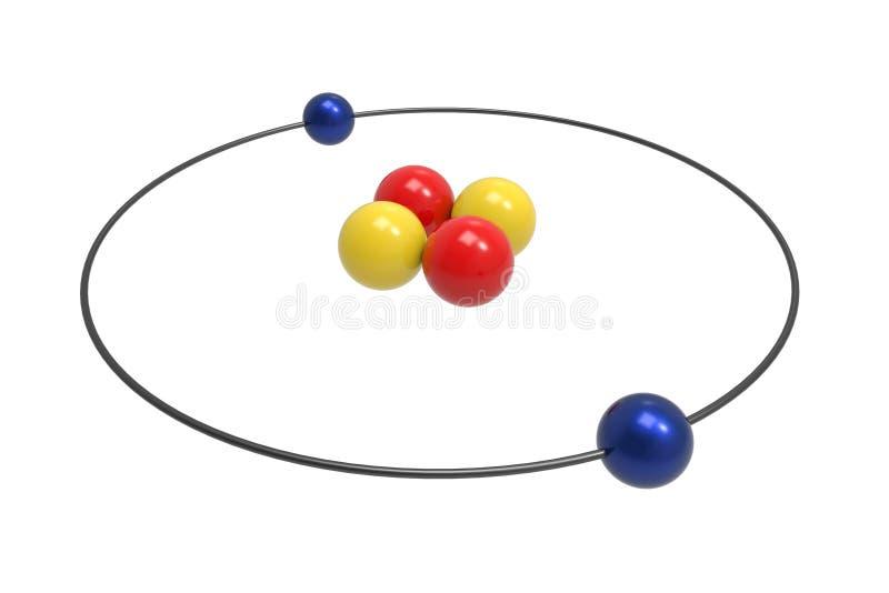 Bohr-Modell des Helium-Atoms mit Proton, Neutron und Elektron stock abbildung