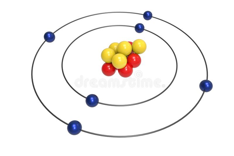 Bohr-Modell des Kohlenstoffatoms mit Proton, Neutron und Elektron vektor abbildung