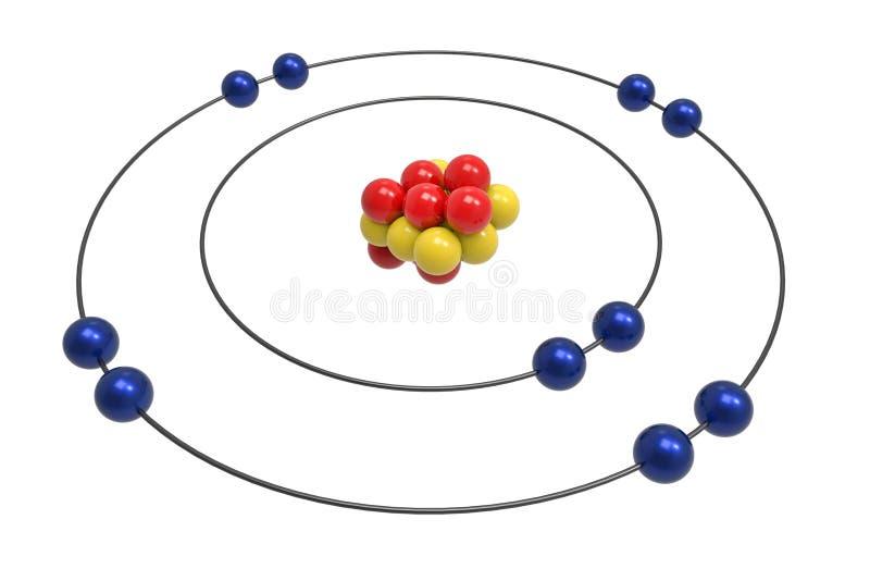 Bohr-Modell des Neonatoms mit Proton, Neutron und Elektron stock abbildung