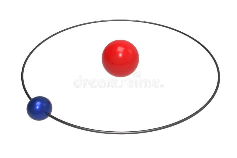 Bohr-Modell des Wasserstoff-Atoms mit Proton, Neutron und Elektron vektor abbildung