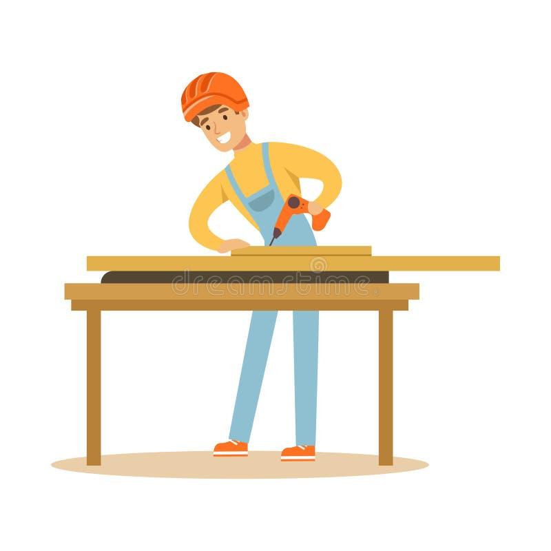 Bohrendes Holz des jungen Tischlermannes in seiner Werkstatt, professionelle hölzerne Jointercharakter-Vektor Illustration lizenzfreie abbildung