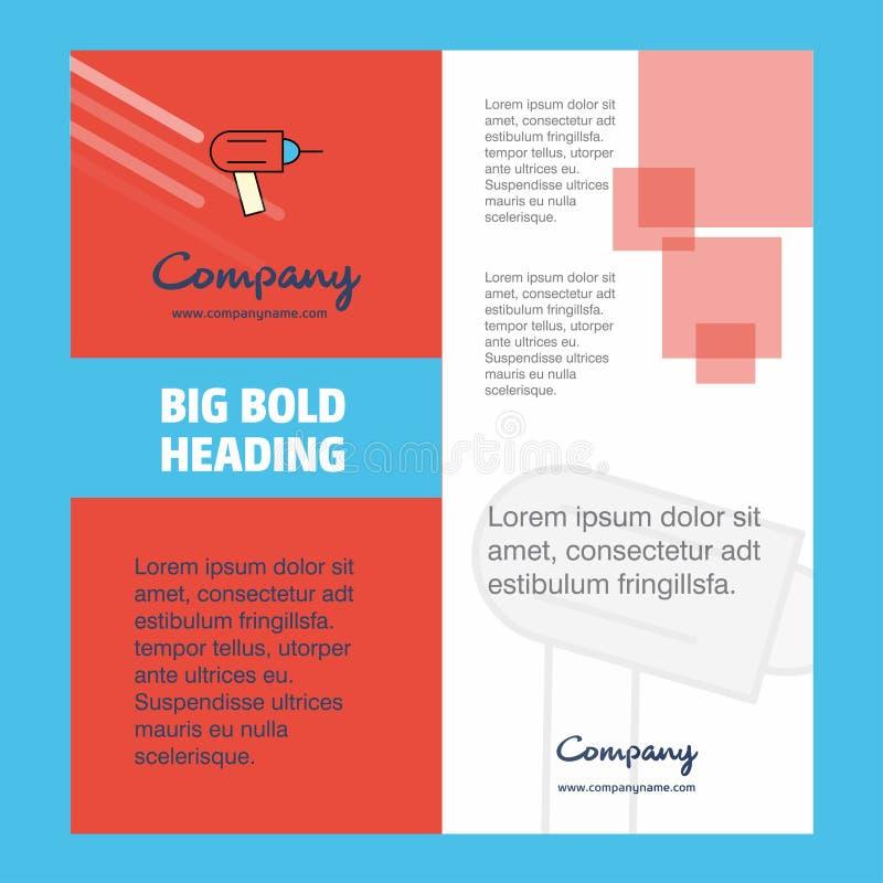 Bohrgerät-Firmenbroschüren-Titelblatt-Entwurf Unternehmensprofil, Jahresbericht, Darstellungen, Broschüre Vektor-Hintergrund lizenzfreie abbildung