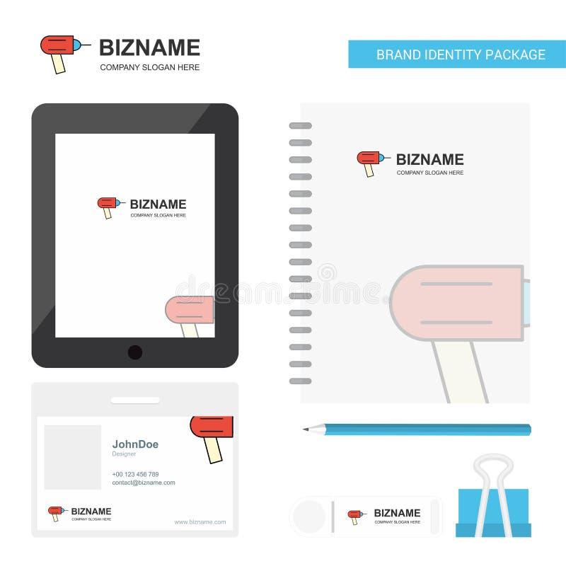 Bohrgerät-Geschäfts-Logo, Tab App, Tagebuch PVC-Angestellt-Karte und USB-Marken-stationäre Verpackungsgestaltungs-Vektor-Schablon vektor abbildung