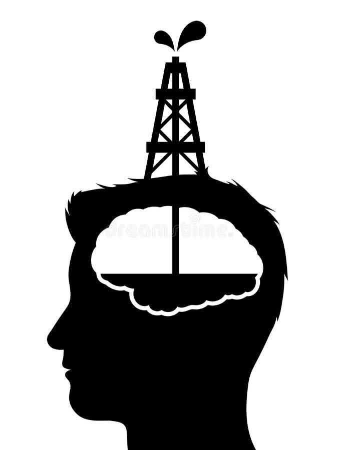 Bohrung für Öl in ein menschliches Gehirn lizenzfreie abbildung