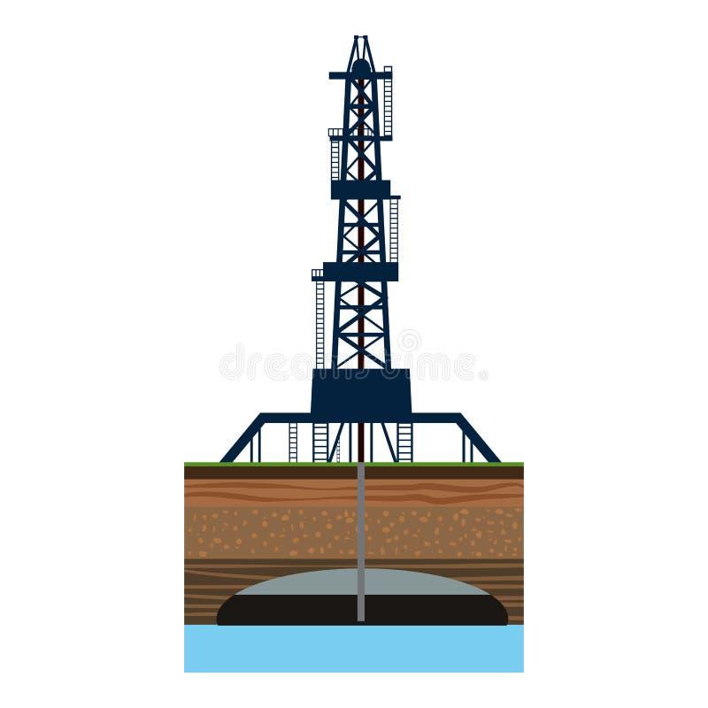 Bohrung von Ölquelle in Seeikone, Karikaturart lizenzfreie abbildung
