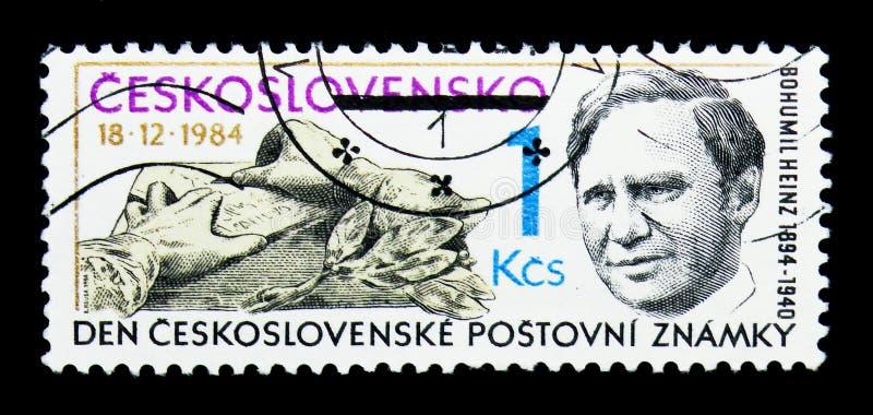 Bohumil Heinz 1894-1940, gravador, serie do dia do selo, cerca de 1984 imagens de stock