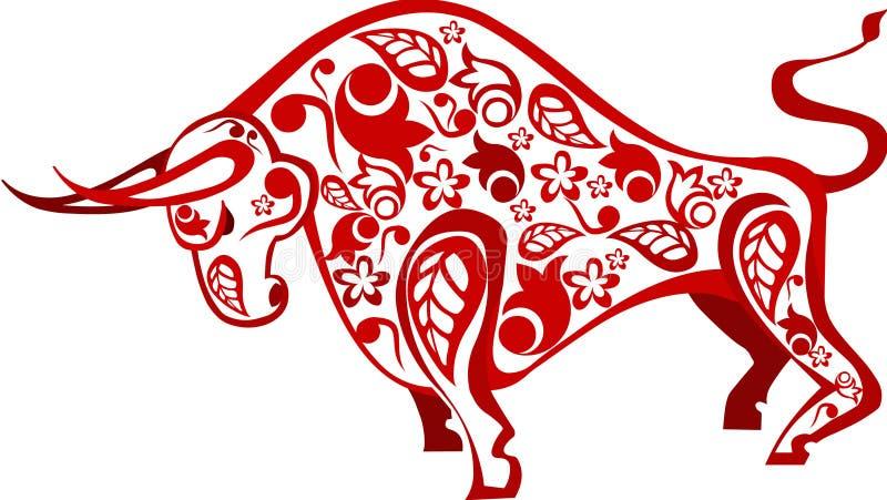 Boi vermelho chinês com teste padrão ilustração do vetor