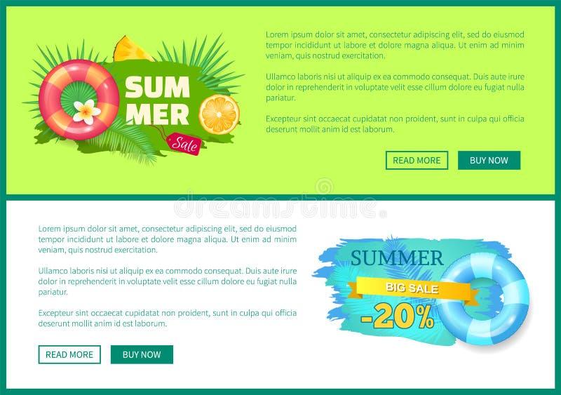 Boia de vida do cartaz da Web da venda do verão, citrinas ilustração stock