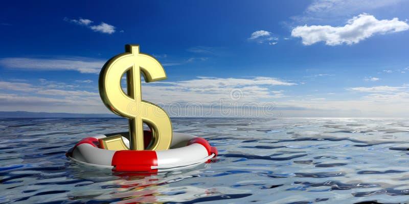 Boia de vida e um símbolo do dólar no fundo azul do mar ilustração 3D ilustração stock