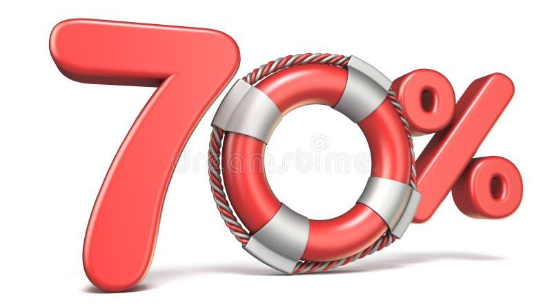 Boia de vida sinal de 70 por cento 3D ilustração do vetor