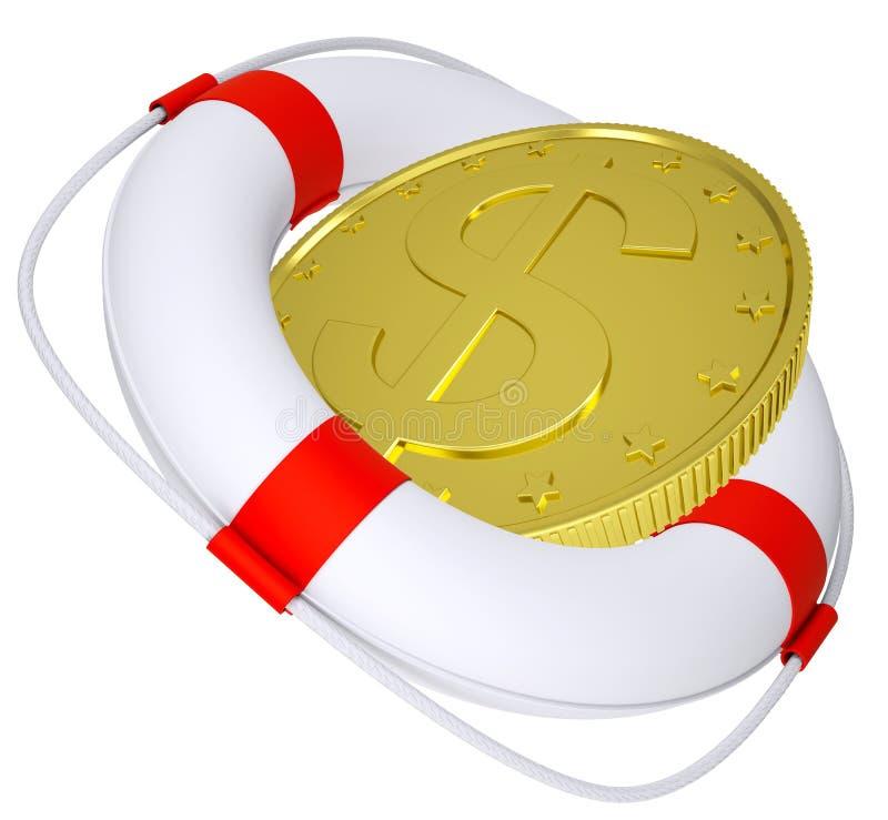 Boia salva-vidas com dólar dourado ilustração stock