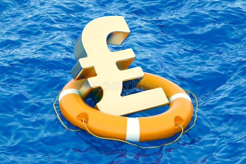 Boia salva-vidas com símbolo dourado de libra esterlina no mar aberto, 3D r ilustração do vetor