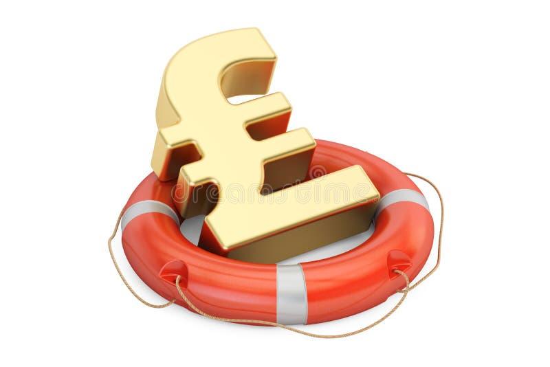 Boia salva-vidas com símbolo dourado de libra esterlina, rendição 3D ilustração royalty free