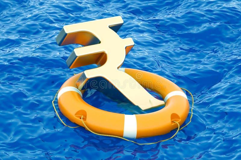 Boia salva-vidas com símbolo dourado no mar aberto, da rupia rendição 3D ilustração stock